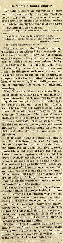 "Scan of the Newspaper Editorial ""Yes, Virginia,There Is A Santa Claus"""